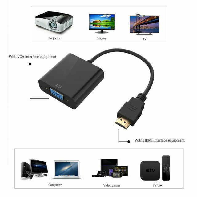 HDMI Male To VGA Female Video Converter Adapter for TV Projector PC Computer BE