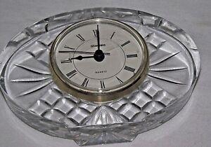 Crystal-Quartz-Desk-Clock-Staiger-Oval-Cut-Glass-Desk-Table-Vintage-Clear-Mantel