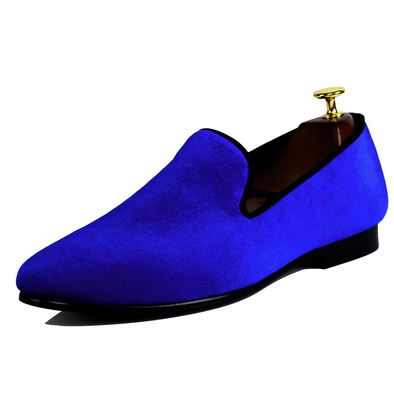 Harpelunde Classic Blue Men Velvet Size Loafers Handmade Dress Shoes Size Velvet 6-14 8190ac