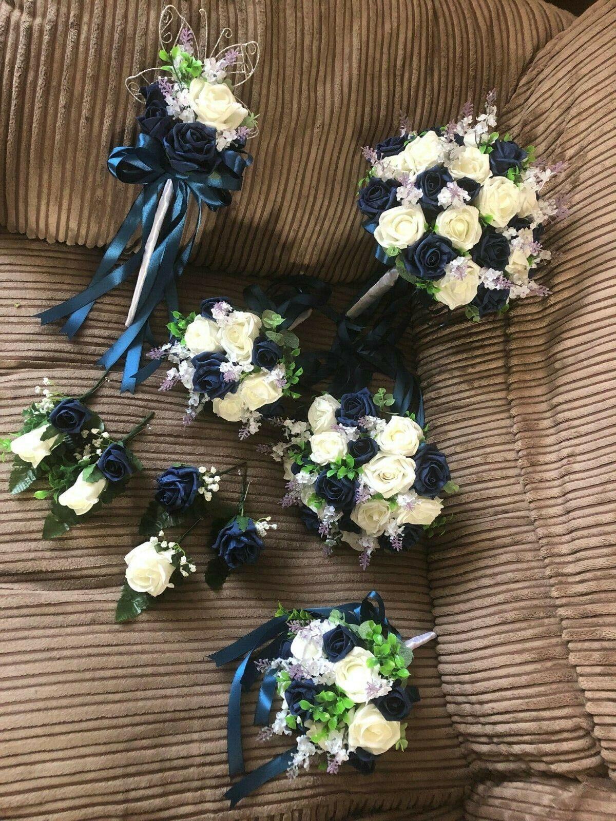 Mariage Fleurs XL bridal bouquet fleur Paquet (Bundle) Bleu Marine & Ivoire