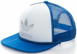 official site no sale tax best online Details about ADIDAS HERITAGE TRUCKER CAP Blue-White snapback trefoil logo  hip hop hat NEW
