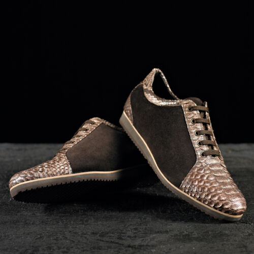 SNEAKERS LACE SHOES IN VERO PITONE TAILORED BESPOKE REALIZZATE A MANO IN ITALIA