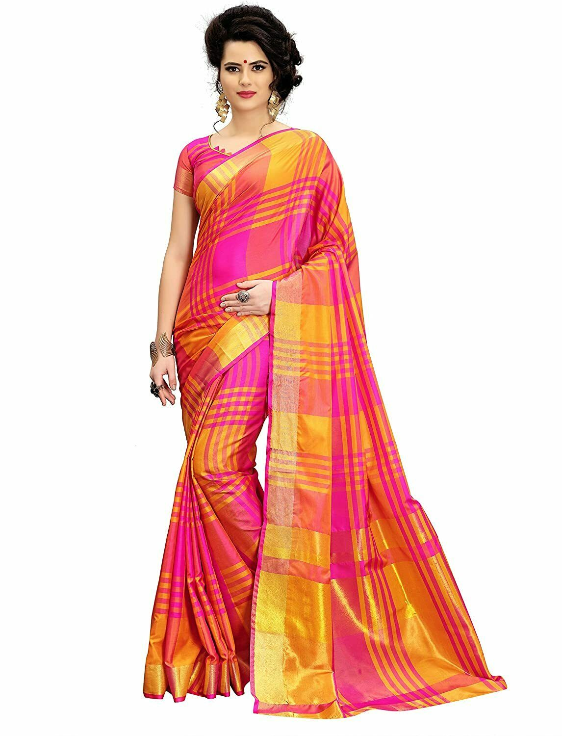 Indian Women's Cotton Silk Printed Saree With Blouse Piece Free Shipping, Pink &