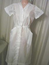 Vintage 60s Semi-sheer NYLON Nurses Dress Uniform EC S Loop Button Snap Skirt