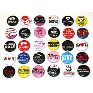 NURSES-NURSING-BADGES-x-30-Buttons-Pinbacks-Pins-Wholesale-Lot-25mm-One-Inch-1-034