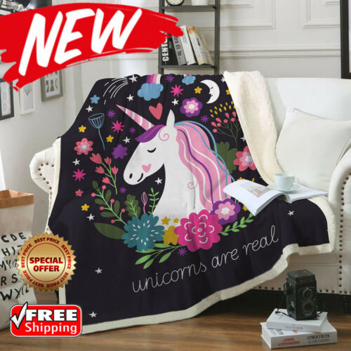 Blanket for Couch Unicorn Cartoon Velvet Plush Floral Printed for girlsurprise