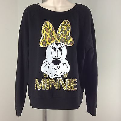 Minnie Mouse Large Sweatshirt Leopard Print Bow Disney Elbow Patches Pullover