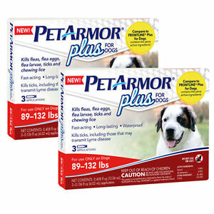 PetArmor Plus For Dogs 89lbs-132lbs, 3 Month Application 2 Count New Sealed!!!