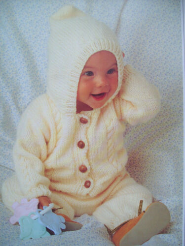 Baby Boy CABLE HOODED CARDIGAN TROUSERS KNITTING PATTERN Aran 14-28in Premature