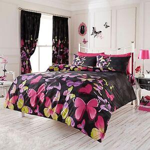 Papillon A La Mode Parure Housse De Couette King Size Noir Rose