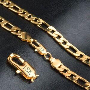 18-Karat-Gold-Kette-vergoldet-Edelstahl-Halskette-Panzerkette-Damen-Herren-NEU