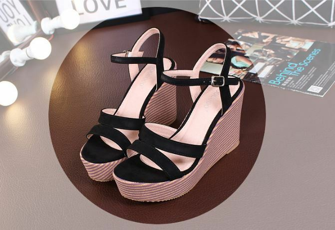 Sandalias de mujer abierto negro cuña plataforma 11 cm elegantes cómodo 8155
