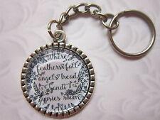 Angels/gypsies roam Key Chain Ring glass cabochon silver tone gift ...