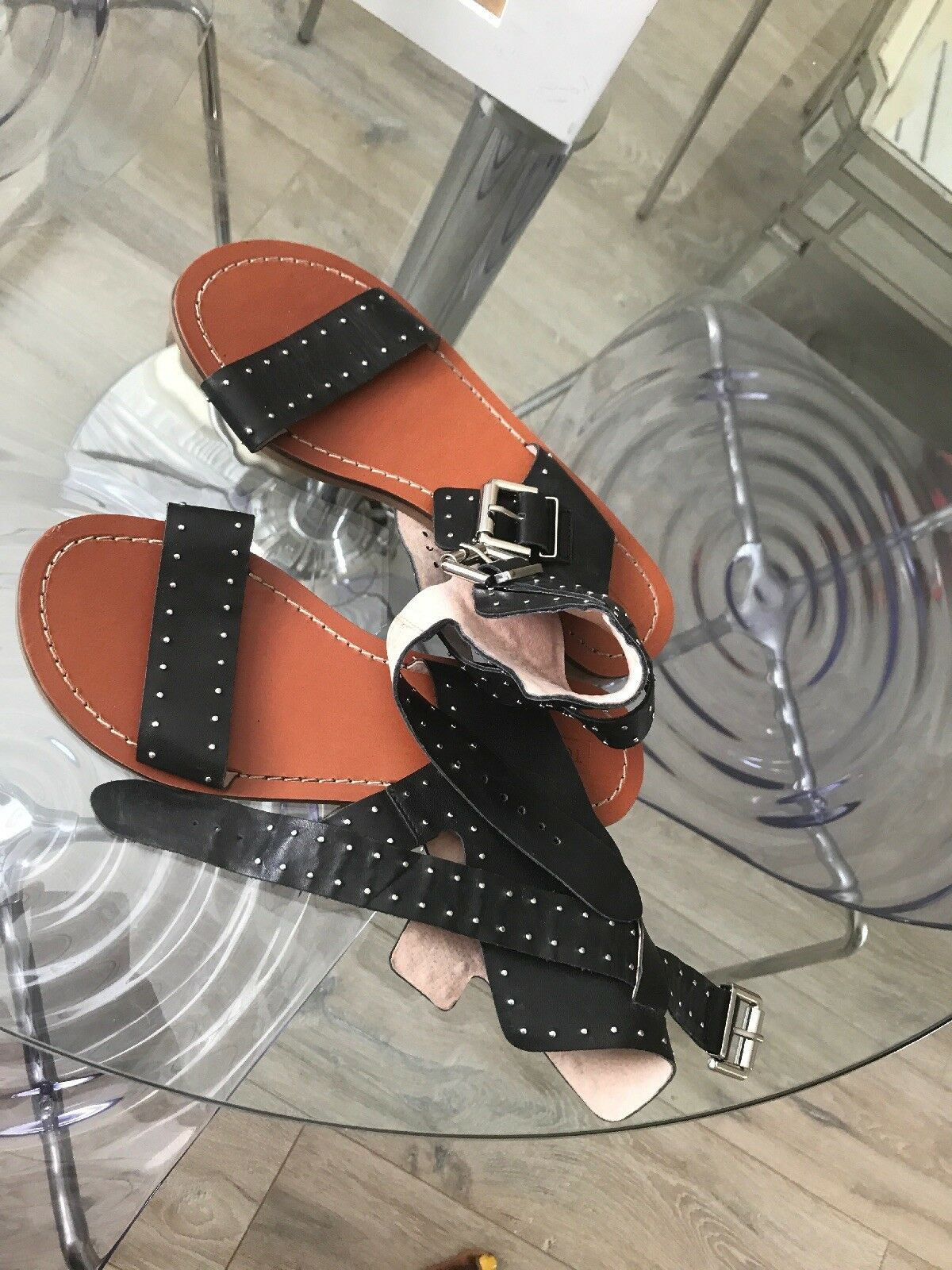 Topshop Black High Sandals Size 5 38