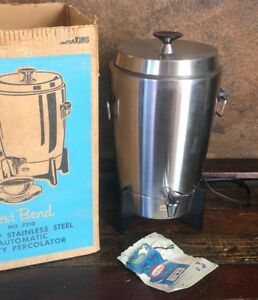 Vintage-WEST-BEND-30-Cup-Stainless-Coffee-Percolator-Maker-Mid-Century-w-BOX