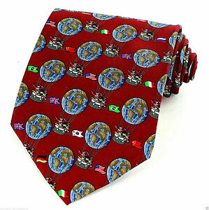Men-039-s-Silk-Christmas-Necktie-Santa-Around-World-Flags-Holiday-Red-Neck-Tie