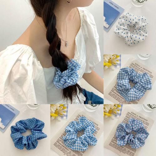 Women Blue Grid Printed Hair Scrunchies Ties Girl Ponytail Holder Hair Rope Band