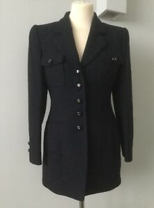 Navy Jacket Cashmere amp; Rene Wool Lange Worn Size Women's Designer 12 Fitted Once AwRZq5