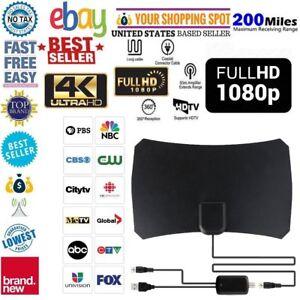 Indoor-Digital-HDTV-TV-Antenna-Aerial-Amplified-200-Mile-Range-VHF-UHF-Freeview