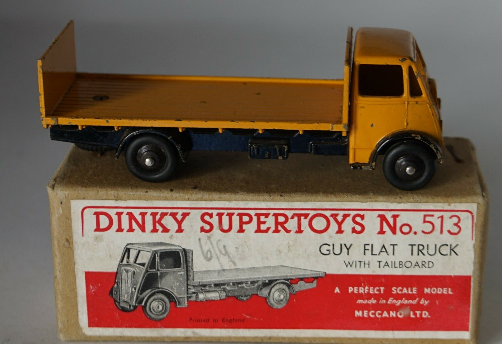 Dinky Spielzeugs 513 Guy Lorry wohnungbed Truck With Tailboard Gelb  Boxed