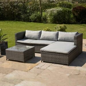 Wido RATTAN GARDEN FURNITURE SET CORNER SOFA GLASS TABLE GREY OUTDOOR COMFORT