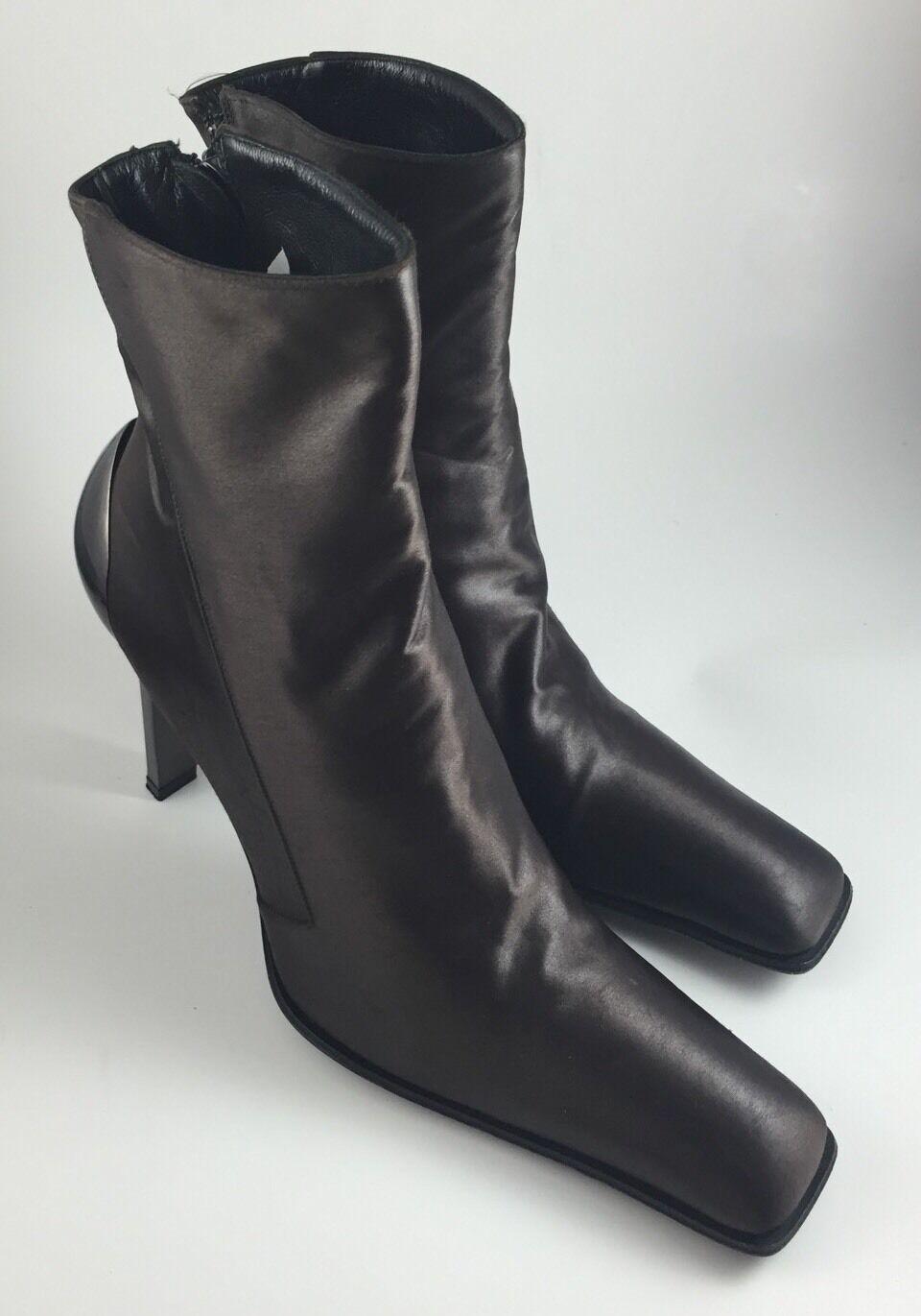 Gianni Barbato Designer Ankle Boots Steampunk Heels Women's 36.5 Bronze Brown