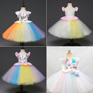 Kids-Flower-Girl-Party-Unicorn-Tutu-Dress-Rainbow-Wedding-Bridesmaid-Princess-US