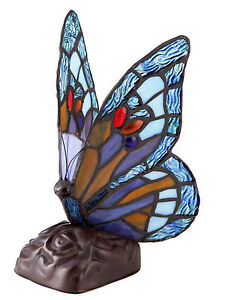Real Stained Glass Butterfly Tiffany Table Lamp Multicolour Heavy