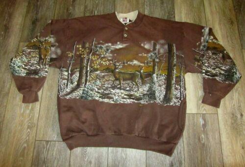 Vintage All Over Print Deer Landscape Crewneck Swe