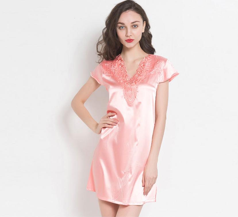 Sleeping Gown: Women Satin Sleepwear Dress V-Neck Short Sleeve Nightgown