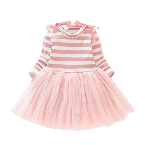 Children Girls Mesh Dress Stitching Stripes Long Sleeve Bowknot Cute Party Gown