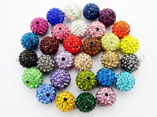 100Pcs Premium Czech Crystal Rhinestones Pave Clay Round Disco Ball Beads 10mm