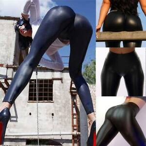 HOT-Women-039-s-Faux-Leather-Leggings-High-Waist-Push-Up-Stretch-Skinny-Pencil-Pants
