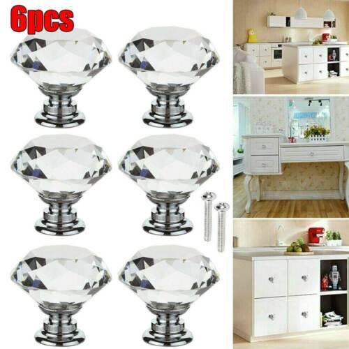Diamond Crystal Door Knobs Drawer Cupboard Furniture Pull Handle Cabinet Knob US