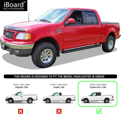 """5/"""" iBoard Running Boards Nerf Bars Fit 01-03 Ford F150//F250LD SuperCrew Cab"""