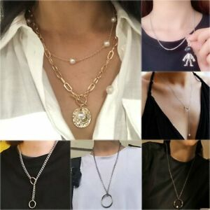 Circle Round Necklaces /& Pendants Simple Necklace Women Sweater Chain Necklace For Women