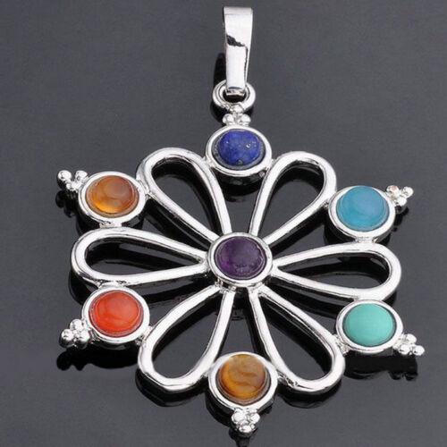7 Resin Quartz Hexagon Pendulum Chakra Healing Gemstone Pendant For Necklace