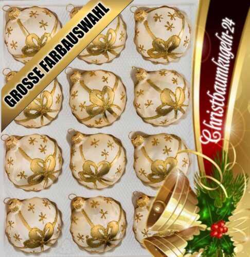 """Glas-Weihnachtskugeln Set in """"Ice Champagner"""" Goldene Schleife 12 tlg"""