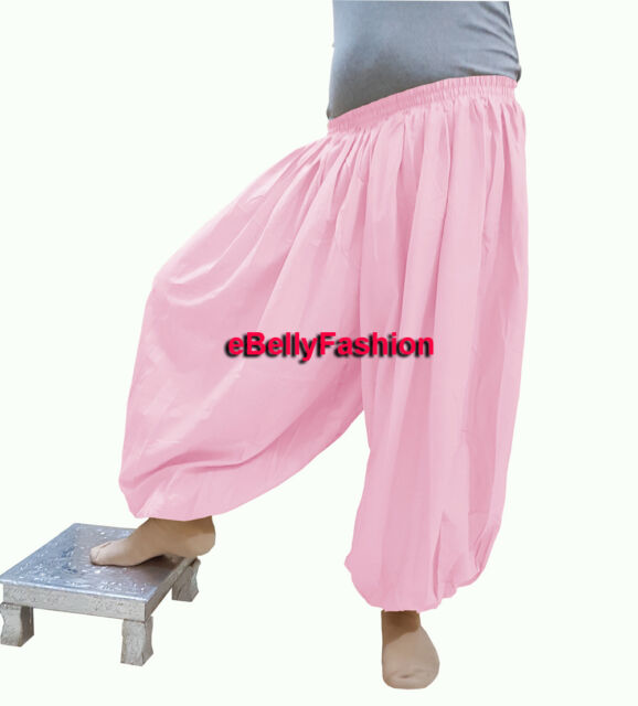 Silver Harem Pant Satin Belly Dance Yoga Pantaloons Aladdin Baggy Halloween
