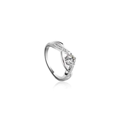 18-19 mm massiv Sterlingsilber ss81 Silber Ring 925 Zirkonia weiß rund  Gr