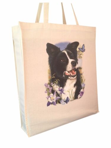 c Border Collie Cotton Shopping Tote Bag with Gusset and Long Handles