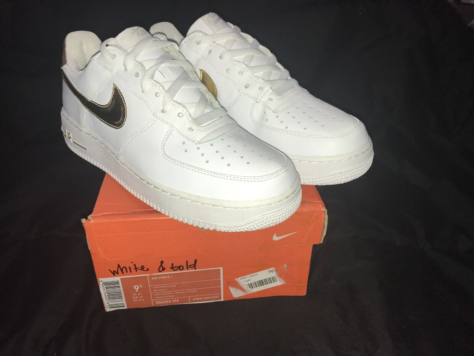 Nike air force 1 bianca / oro metallico Uomo sz 306353 173