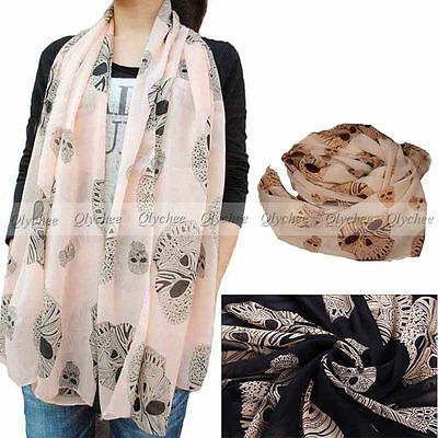 Girl's NEW Style Women's Long Silk Skull Scarf velvet Chiffon Scarf  Fashion 1pc