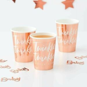 ROSE-GOLD-CUPS-Twinkle-Little-Star-Baby-Shower-Christening-Birthday-Tableware