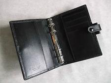 FILOFAX LEATHER SLIM POCKET FILE BINDER BLACK ORGANISER NEW 15mm RING DIAMETER