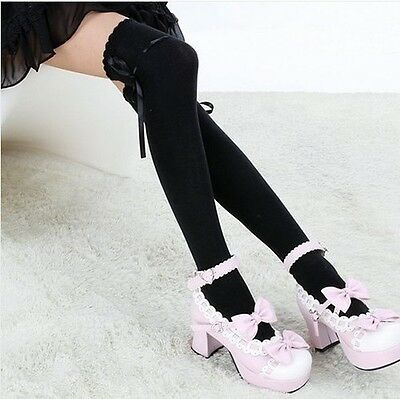 Japanese Harajuku School Girl uniform bowknot Over The Knee Socks