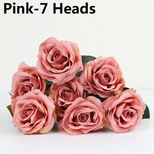 Heads Silk Rose Artificial Flowers Fake Bouquet Bunch Wedding Home Party Decors