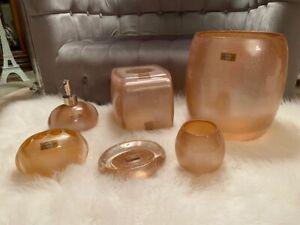 6 Piece Manor Hill Sierra Sparkle Peach, Peach Bathroom Accessories