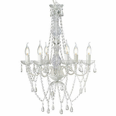 WHITE ROMANCE CHANDELIER LARGE 6 ARM RETRO CRYSTALS GYPSY CEILING LIGHT LAMP NEW