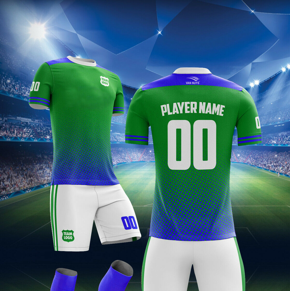 10 Kit de fútbol uniformes Personalizados Club Fútbol uniformes  set Camiseta + Pantalones Cortos + Medias